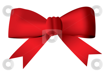 Red bow stock vector clipart, Red ribbon bow tied in a knot ideal present and gift concept by Michael Travers