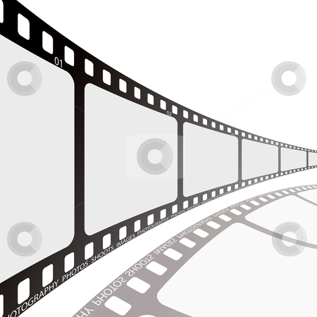 Film reel stock vector clipart, Film strip illustration with shadow and room to add text by Michael Travers