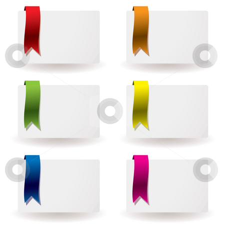 Ribbon business card stock photo, Flowing colourful ribbon on white paper business card and shadow by Michael Travers