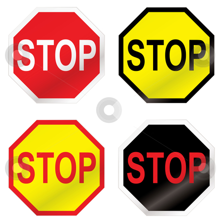 Stop road sign variation stock vector clipart, Four stop road sign with color variation ideal icon sets by Michael Travers