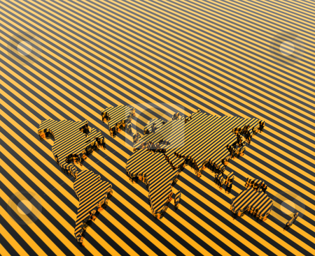 Model of the geographical world map stock photo, 3d stripe model of the geographical world map by Kirill Alperovich