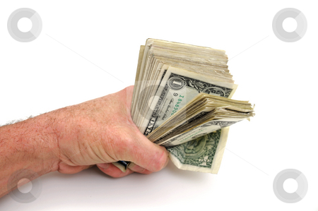 Fist Full Of Dollars stock photo, A clenched fist holding a handful United States one dollar bills on a white background by Lynn Bendickson