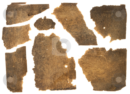 Old grunge torn paper stock photo, Torn pieces of old thin brown paper stained with black dust, isolated on white by Marek Uliasz