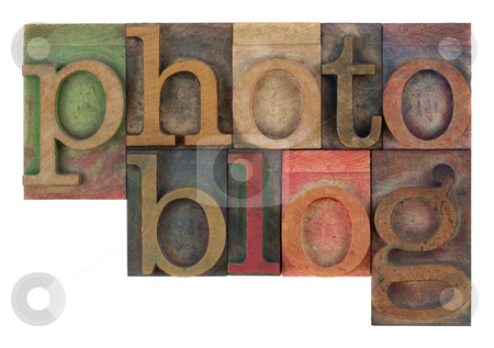 Photoblog in letterpress wooden type stock photo, Word photoblog in old letterpress wooden type blocks, stained by colorful inks,  isolated on white by Marek Uliasz