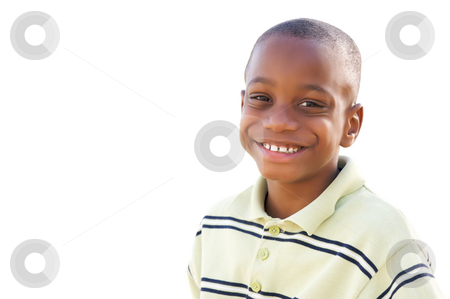 Handsome Young African American Boy Isolated on White stock photo, Handsome Young African American Boy Isolated on a White Background. by Andy Dean