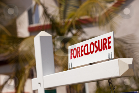 Close-up Foreclosure Real Estate Sign stock photo, Close-up Foreclosure Real Estate Sign in Front of House. by Andy Dean