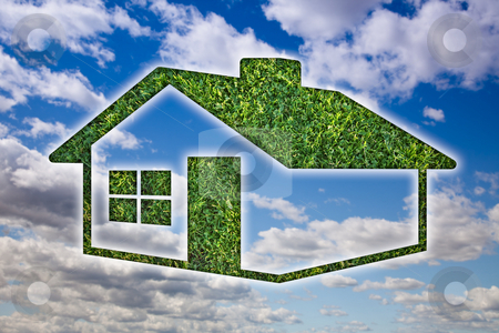 Green Grass House Icon over Sky and Clouds stock photo, Green Grass House Icon Over Blue Sky and Clouds. by Andy Dean