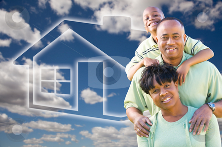 Family Over Clouds, Sky and House Icon stock photo, Happy African American Family Over Clouds, Sky and House Icon. by Andy Dean