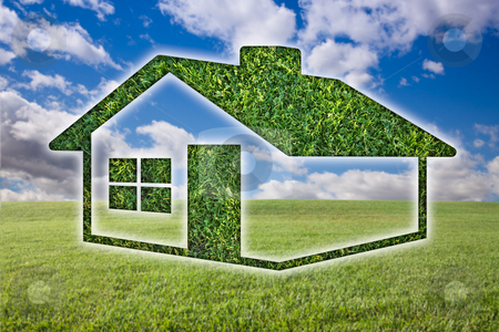 Green Grass House Icon Over Field, Sky and Clouds stock photo, Green Grass House Icon Over Field, Blue Sky and Clouds. by Andy Dean