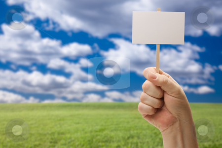 Blank Sign in Fist Over Grass Field and Sky stock photo, Blank Sign in Male Fist Over Grass Field and Sky with Clouds. by Andy Dean