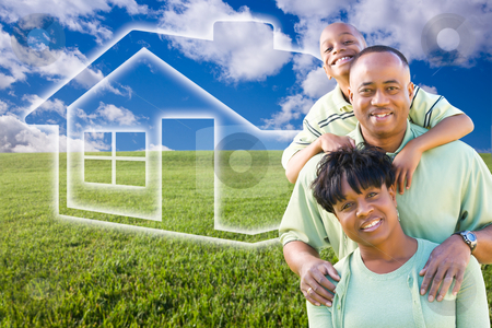 Family Over Grass Field, Clouds, Sky and House Icon stock photo, Happy African American Family Over Grass Field, Clouds, Sky and House Icon. by Andy Dean
