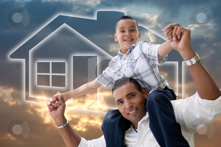 Father and Son Over Clouds, Sky and House Icon. stock photo, Happy Hispanic Father and Son Over Clouds, Sky and House Icon. by Andy Dean