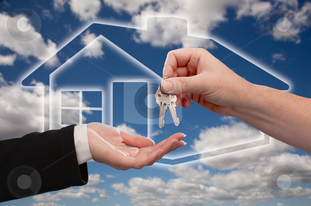 Handing Over Keys on Ghosted Home Icon, Clouds and Sky stock photo, Handing Over the House Keys on Ghosted Home Icon, Clouds and Sky by Andy Dean