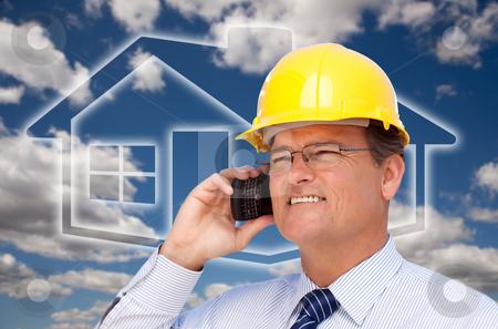 Contractor in Hardhat on Phone Over House Icon and Blurry Clouds stock photo, Contractor in Hardhat on His Cell Phone Over House Icon and Blurry Clouds. by Andy Dean