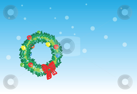 Christmas wreath - 5 of 6 christmas cards stock vector clipart, Christmas wreath on snowing background, christmas greetings. 1 of the 6 same styled christmas cards i draw, please check the rest in my profile. by Mtkang