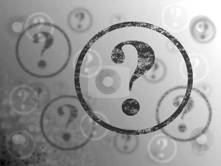 Question Mark Background BW stock photo, Blue and white background with many question marks by Henrik Lehnerer