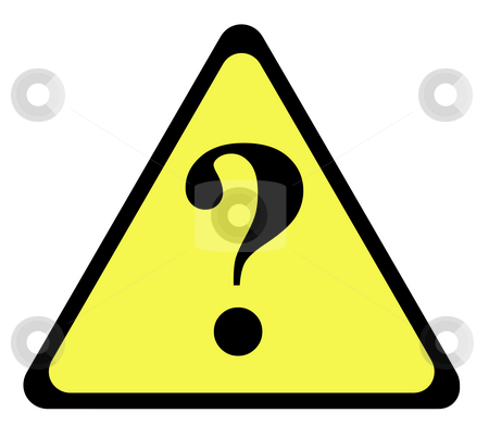 Question mark warning sign stock photo, Yellow warning triangle sign with question mark, isolated on whte background. by Martin Crowdy
