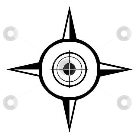 Targeting compass stock photo, Compass silhouette isolated on a white background. by Martin Crowdy