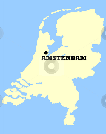Map of Netherlands stock photo, Map of Netherlands with Amsterdam marked, isolated on a blue background. by Martin Crowdy