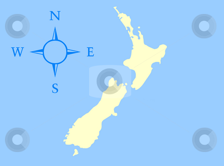 Map of New Zealand stock photo, Map of New Zealand isolated on a blue background. by Martin Crowdy