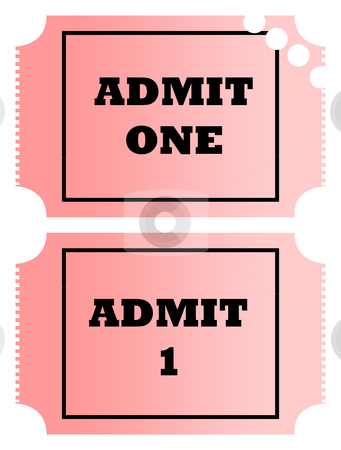 Blank tickets stock photo, Blank gradient pink cinema or movie admit one tickets, isolated on white background. by Martin Crowdy