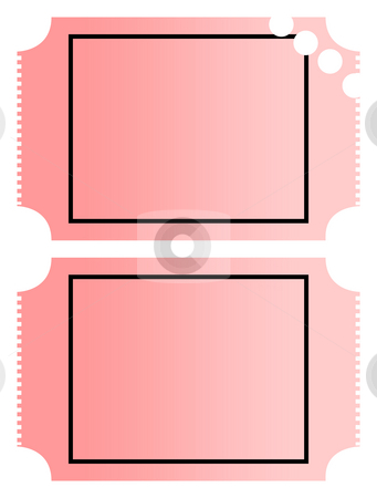 Blank tickets stock photo, Blank gradient pink cinema or movie tickets with copy space, isolated on white background. by Martin Crowdy