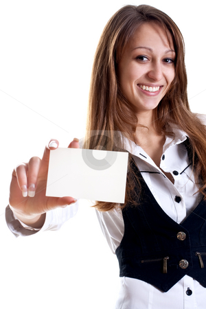 Young business woman with business card stock photo, Young business woman with business card on a white background by Artem Zamula