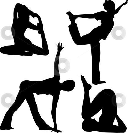Yoga stock vector clipart, Silhouette of yoga by Desislava Draganova