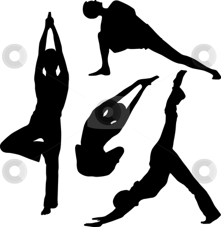 Yoga and stretching stock vector clipart, Yoga and stretching by Desislava Draganova