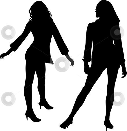 Dancer silhouette stock vector clipart, Dancer silhouette, vector black & white, girls by Desislava Draganova