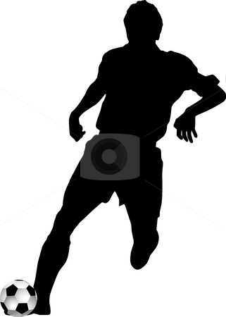 Silhouette footballers stock vector clipart, Silhouette footballers, vector black & white, players by Desislava Draganova