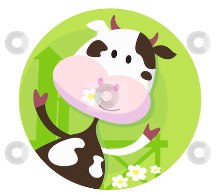 Happy cow character  - farm animal stock vector clipart, Vector illustration of funny cow on the meadow. by BEEANDGLOW