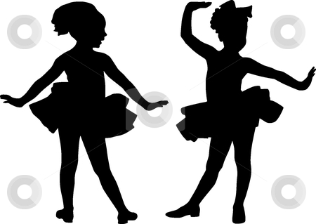 Silhouette small friends stock vector clipart, Silhouette girls play ...