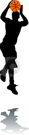 Silhouette basketball stock vector clipart, Silhouette basketballer by Desislava Draganova