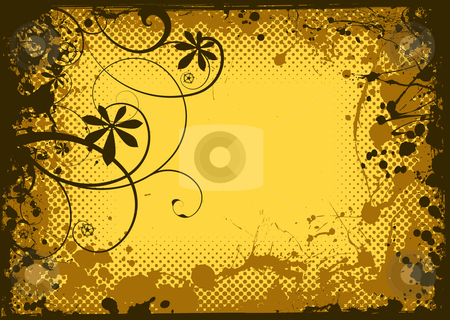 Floral ink grunge stock vector clipart, Grunge ink splat border with halftone dot and floral elements by Michael Travers