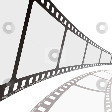 Film reel angle stock vector clipart, Simple clean photographic film with shadow on white background by Michael Travers
