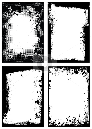 Grunge border collection stock vector clipart, Black ink grunge border with white background and splat effect by Michael Travers