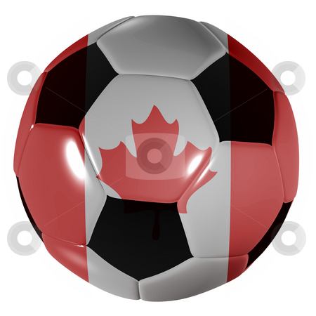 Football canada flag stock photo, Traditional black and white soccer ball or football canada flag by Michael Travers