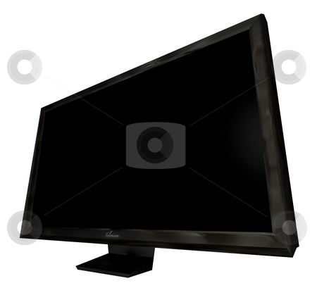 Television side angle stock photo, Modern flat screen television viewed from the side with blank area by Michael Travers