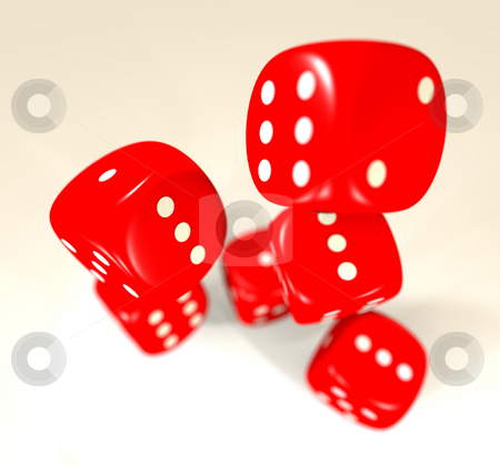 Red dice blur stock photo, Red dice thrown with blur and drop shadow ideal for casino by Michael Travers