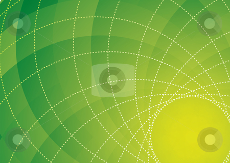 Green spiral background stock vector clipart, Abstract green and yellow floral inspired background with dotted lines by Michael Travers