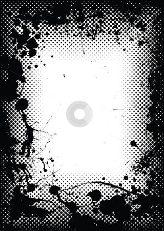 Halftone grunge ink splat border stock vector clipart, Halftone dot black border or frame with grunge ink splats by Michael Travers