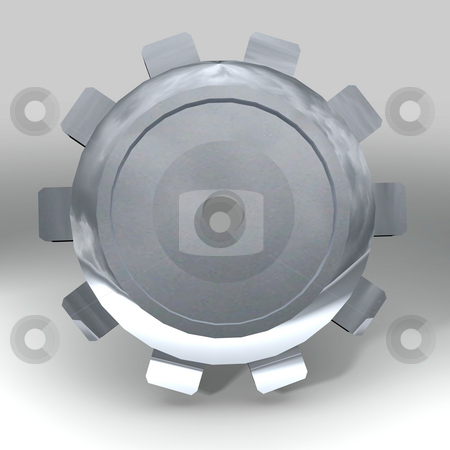 Silver gear stock photo, Shiny silver metal cog or gear with shadow background by Michael Travers