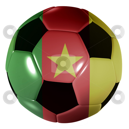 Football camaroon flag stock photo, Traditional black and white soccer ball or football camaroon flag by Michael Travers