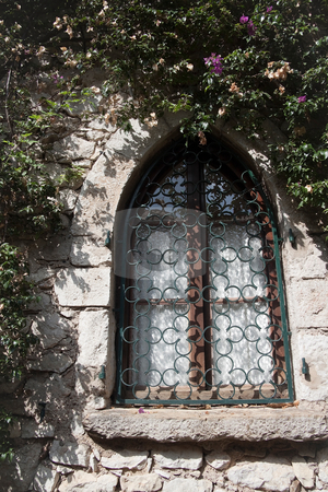 Old Window stock photo, An old window surrounded by greenery and flowers by Kevin Tietz