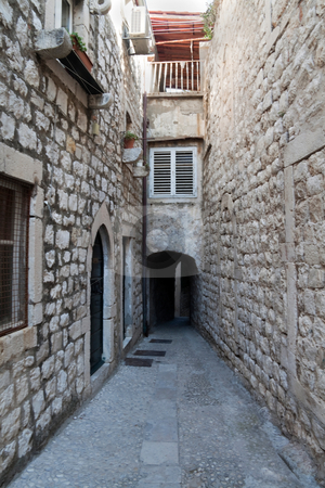Alley stock photo, A empty alley way in an old European town by Kevin Tietz