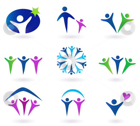 Community Network And Social Icons Blue Green And Pink Stock Vector