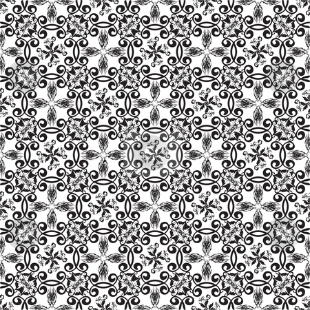 Floral black seamless background stock vector clipart, Floral abstract seamless background in black and white by Michael Travers