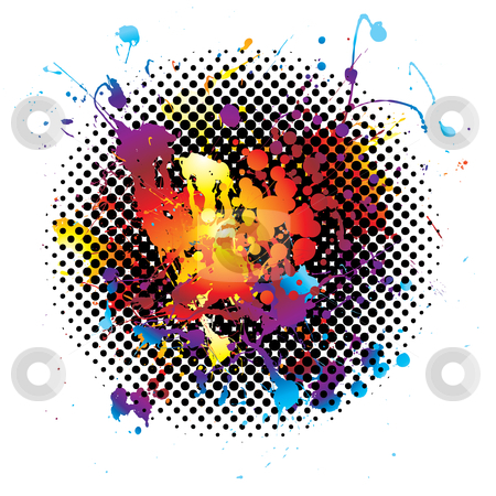 Rainbow splatter grunge stock vector clipart, Ink splat background with rainbow grunge effect on a white background by Michael Travers