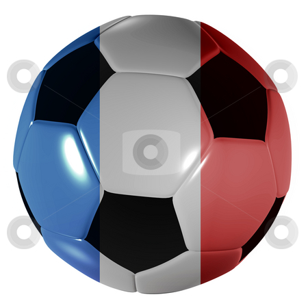 Football french stock photo, Traditional black and white soccer ball or football with french flag by Michael Travers